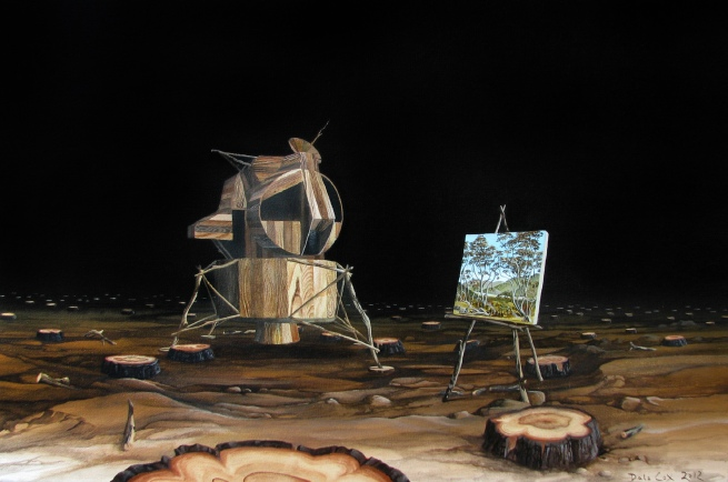 Dale Cox (b. 1969) 'Untitled (Lunar lander of wood)' 2012