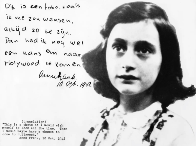 Anne Frank, photograph inscribed with her wish to go to Hollywood, October 10, 1942