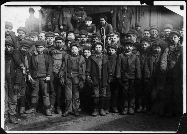 Lewis Hine (1874-1940) 'Breaker boys working in Ewen Breaker. S. Pittston, Pa.' January 1911