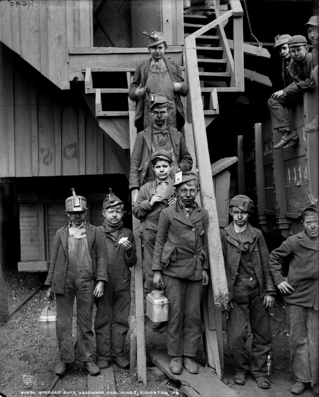 Lewis Hine (1874-1940) 'Breaker boys of the Woodward Coal Mines, Kingston, Pa.' c. 1911