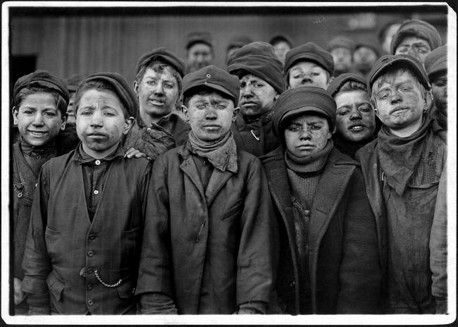 Lewis Hine (1874-1940) 'Breaker boys. Smallest is Angelo Ross. Hughestown Borough Coal Co. Pittston, Pa.' 16 January 1911