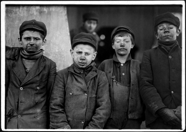Lewis Hine (1874-1940) 'Breaker #9, Hughestown Borough Pa. Coal Co. One of these is James Leonard, another is Stanley Rasmus. Pittston, Pa.' 16 January 1911