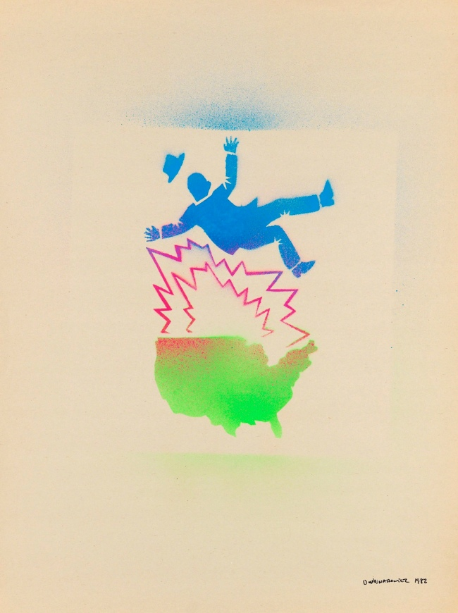David Wojnarowicz (1954-1992) 'Untitled (Falling man and map of the U.S.A.)' 1982