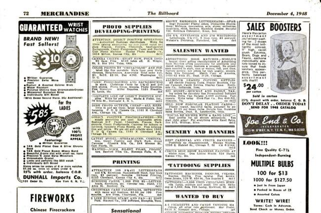 'The Billboard' December 4 , 1948 p. 72