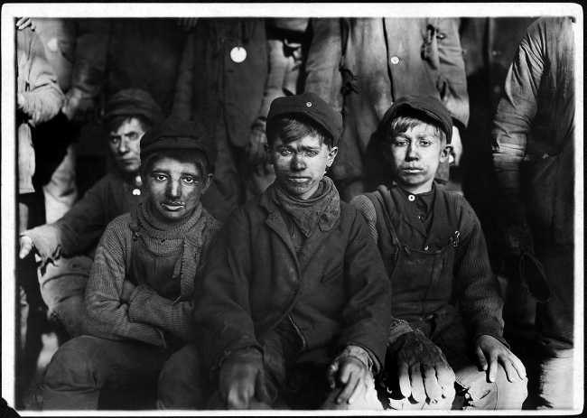 Lewis Hine (1874-1940) 'Group of breaker boys. Smallest is Sam Belloma. Pittston, Pa.' 16 January 1911