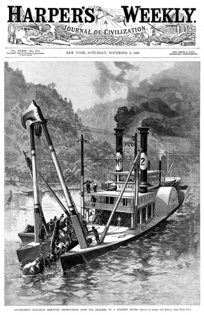 Harpers Weekly Cover snagboat 2 Nov 1889