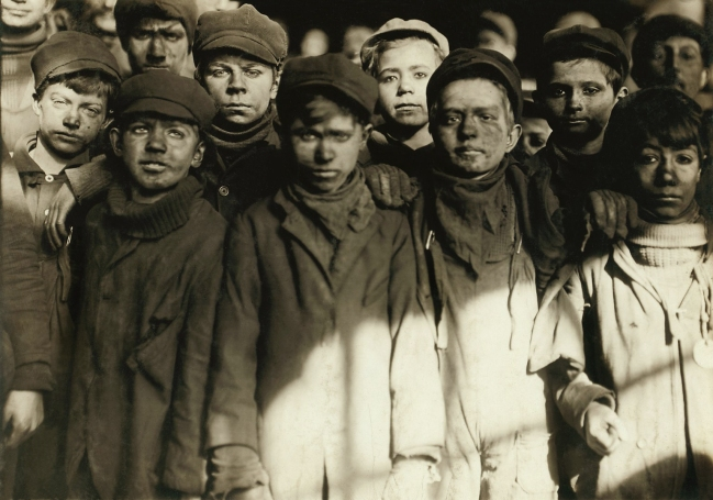 Lewis Hine (1874-1940) 'Group of Breaker Boys in #9 Breaker, Hughestown Borough, Pennsylvania Coal Co. Smallest boy is Angelo Ross' Jan. 1911