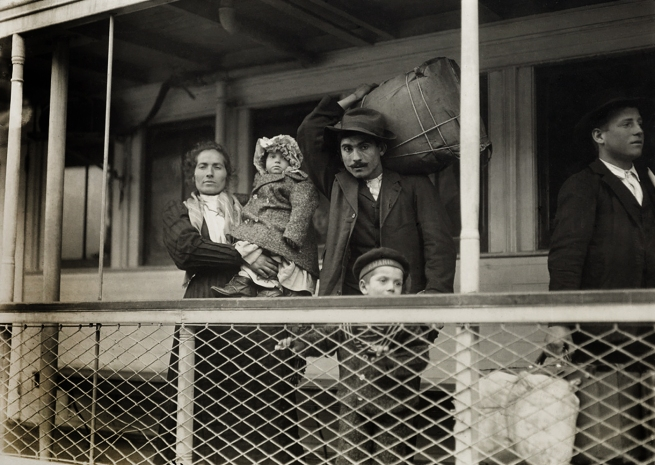 Lewis Hine (1874-1940) 'Italian family on the ferry boat' 1905