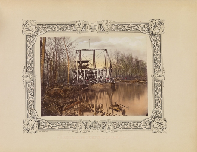 Robert B. Talfor. U.S. Steamer Aid at work, Raft No. 5, bow view. Plate A of the photographic album 'Photographic Views of Red River Raft' 1873