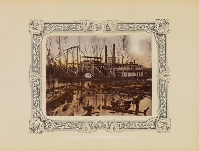 Robert B. Talfor. 'U.S. Aid', clearing logjam in the Red River, Louisiana. Plate XV of the photographic album 'Photographic Views of Red River Raft' 1873