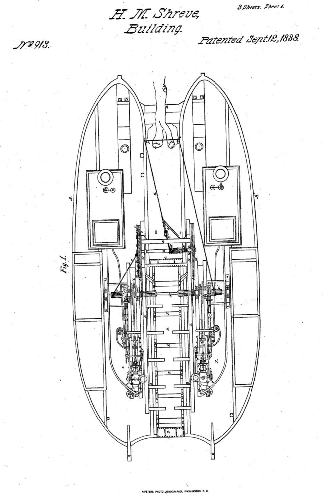 Plan for Henry Shreve's snag boat. Patent No. 913, September 12, 1838