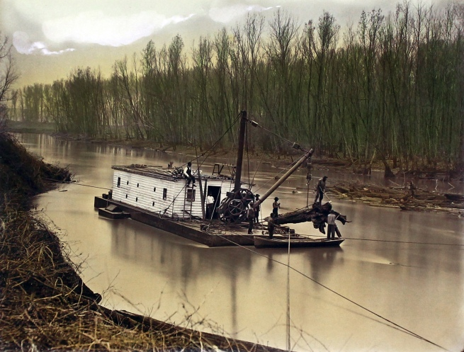 Robert B. Talfor. Raft No. 4 partially removed. Plate X of the photographic album 'Photographic Views of Red River Raft' 1873