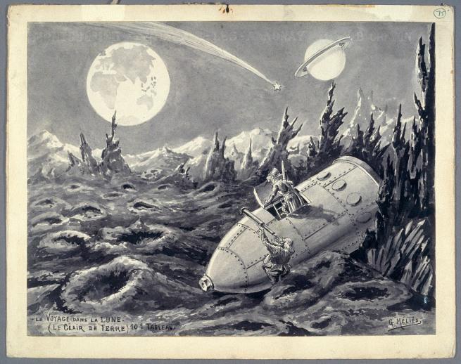Georges Méliès (1861-1938) 'Le voyage dans la lune. Le clair de terre - (10e tableau)' 1902