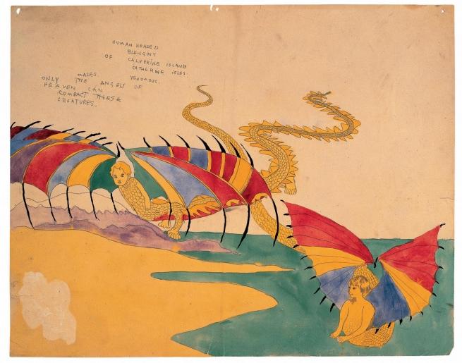 Henry Darger (American, 1892-1973) 'Human headed Blengins of Calverine Island Catherine Isles' 1920-30