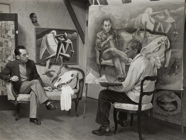 Man Ray (American, 1890-1976) 'George Biddle Painting a Portrait of Man Ray' 1941