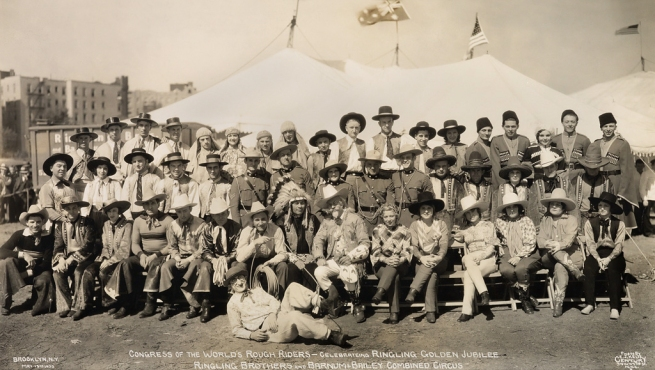 Edward Kelty (1888-1967) 'Congress of the World's Rough Riders - Celebrating Ringling Golden Jubilee, Ringling Brothers and Barnum & Bailey Combined Circus' Brooklyn, N.Y. May 19th 1933