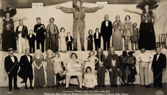 """Edward Kelty (1888-1967) '""""Doll Family of Midgets"""", Celebrating """"Ringling Golden Jubilee"""", Ringling Brothers and Barnum & Bailey Combined Circus Side Show' 1933"""