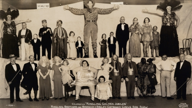 "Edward Kelty (1888-1967) '""Doll Family of Midgets"", Celebrating ""Ringling Golden Jubilee"", Ringling Brothers and Barnum & Bailey Combined Circus Side Show' 1933"