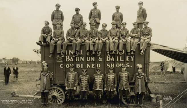 Edward Kelty (1888-1967) 'George Denman and His Staff, Ringling Brothers and Barnum & Bailey Combined Shows' Irvington, N.J. June 9th, 1931