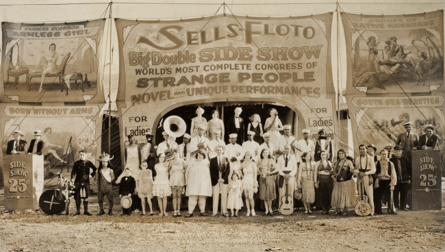 Edward Kelty (1888-1967) 'Sells-Floto Big Double Side Show, Jersey City, N.J. - June 19th 1931, Lew. C. Edelmore - Manager' 1931