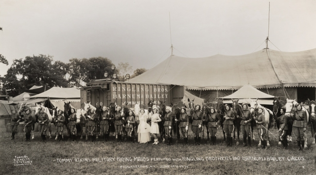 Edward Kelty (1888-1967) 'Tommy Atkins Military Riding Maids featured withRingling Brothers and Barnum & Bailey Circus' Poughkeepsie, N.Y. - June 15th 1935