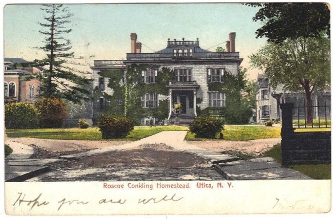 A linen postcard ofConkling House, #3 Rutger Park, Rutger Street, Utica NY