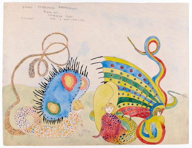 Henry Darger (American, 1892-1973) 'Young Rebonna Dorthereans Blengins - Catherine Isles, Female, One Whip-Lash-Tail' 1920-30