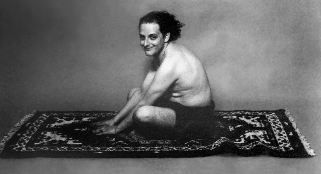 Urs Lüthi (Swiss, born 1947) 'Selfportrait (flying carpet)' 1976