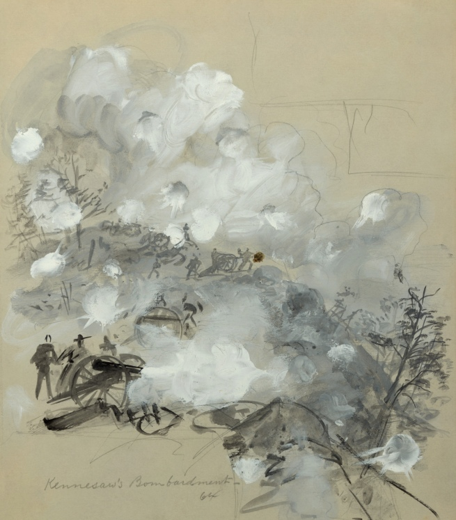 Alfred R. Waud (Alfred Rudolph) (American, 1828-1891) 'Kennesaw's Bombardment, 64' June 27, 1864