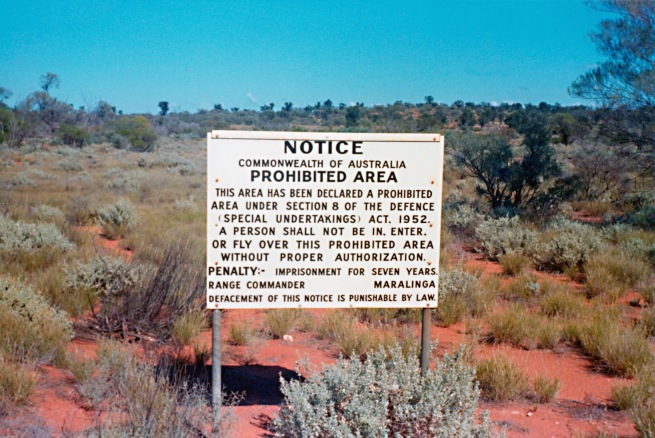 'Maralinga Prohibited Area sign on Emu/Nawa Road' 1974