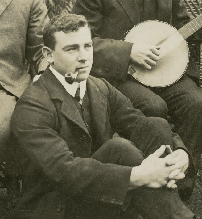 Anonymous photographer. 'Banjo playing in the garden, Broken Hill, far west of outback New South Wales' c. 1910-20 (detail)