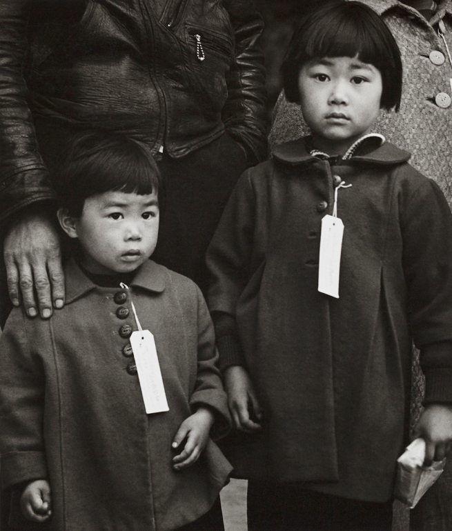 Dorothea Lange (1895-1966) 'Japanese Children with Tags, Hayward, California, May 8 1942'