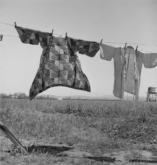 Dorothea Lange (1895-1966) 'Jour de lessive, quarante-huit heures avant l'évacuation des personnes d'ascendance japonaise de ce village agricole du comté de Santa Clara, San Lorenzo, Californie' 'Laundry day, forty-eight hours before the evacuation of people of Japanese descent from this farming village of Santa Clara County, San Lorenzo, California' 1942