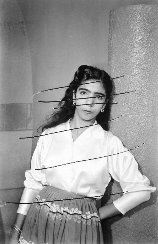 Akram Zaatari. 'Damaged Negatives: Scratched Portrait of an anonymous woman' 2012