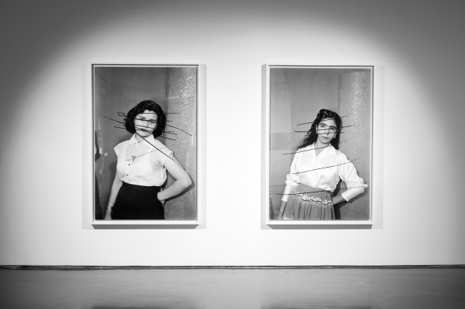 Akram Zaatari. 'Damaged Negatives: Scratched Portraits of Mrs. Baqari and her friend' 2012