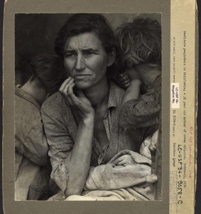 Dorothea Lange (1895-1966) 'Destitute pea pickers in California' 1936