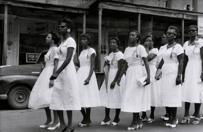 Ralston Crawford (American 1906-1978) 'Women in Sunday School Parade, New Orleans' 1958