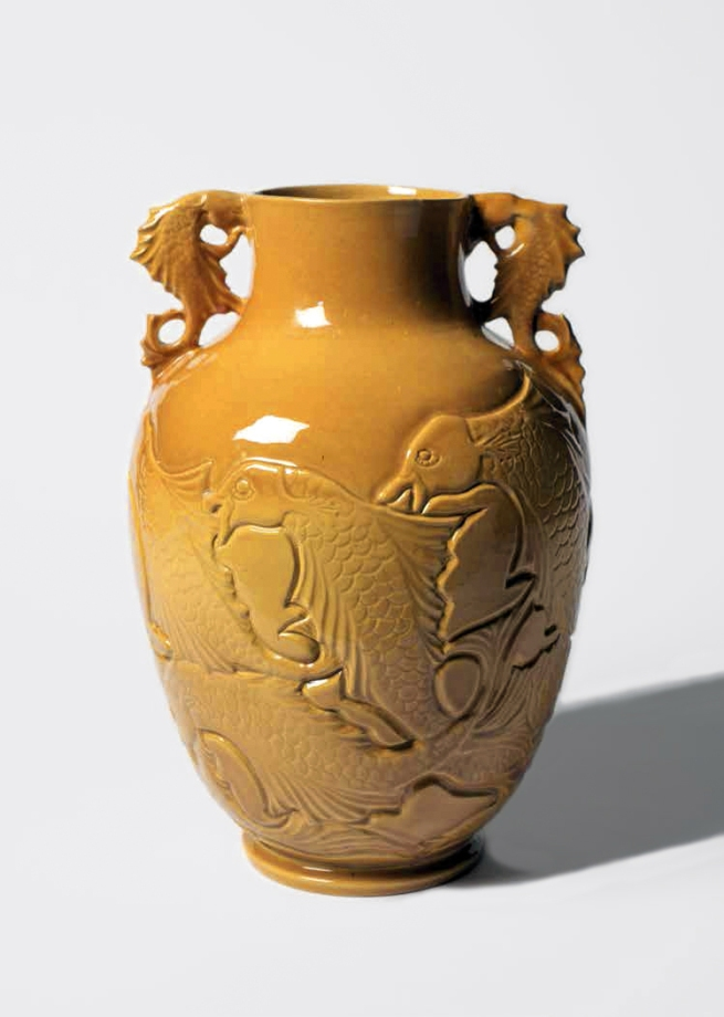 Klytie Pate (Australian, 1912-2010) 'Incised urn-shaped vase with carved seahorse lugs (flying fish motif)' Date unknown