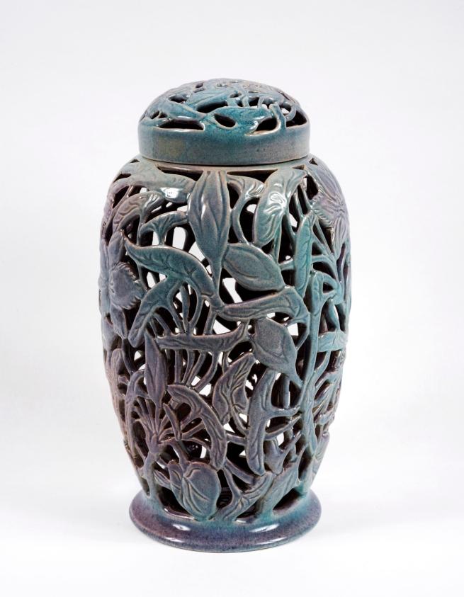 Klytie Pate(Australian, 1912-2010) 'Large pierced ginger jar (woven waterlily motif)' 1950