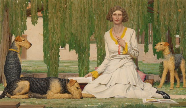 Napier Waller (Australian, 1893-1972) 'Christian Waller with Baldur, Undine and Siren at Fairy Hills' 1932