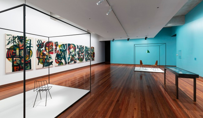 Installation view of the exhibition 'Clement Meadmore: The art of mid-century design' at the Ian Potter Museum of Art, Melbourne