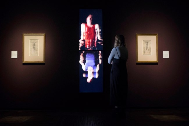 Installation view of the exhibition 'Bill Viola/Michelangelo: Life, Death, Rebirth' at the Royal Academy of Arts, London