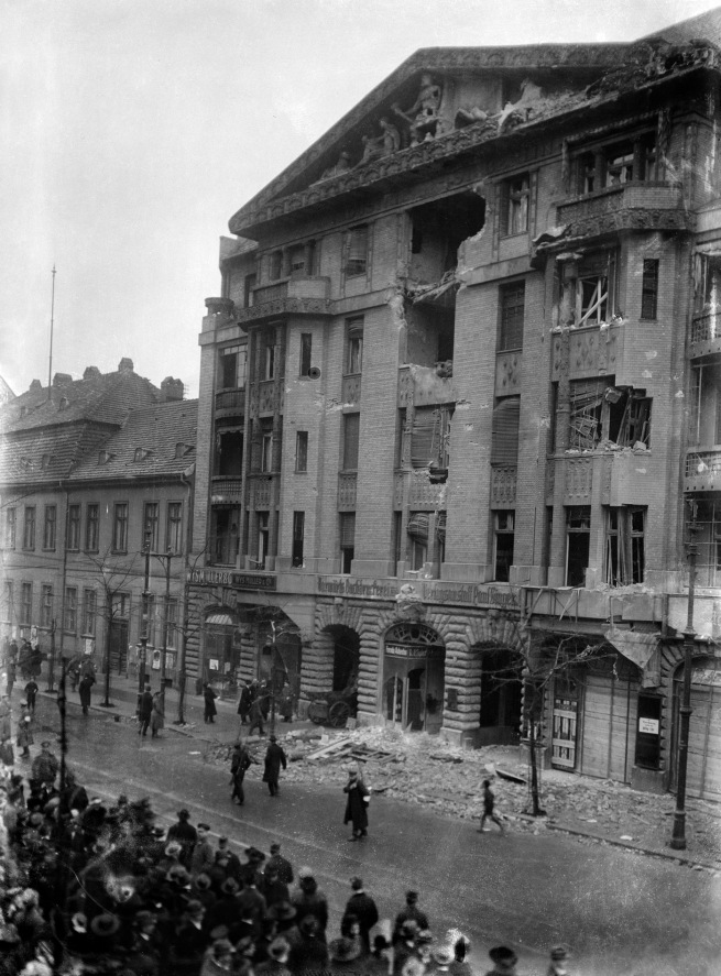 Willy Römer (German, 1887-1979) 'Fighting in the Berlin newspaper district. The Vorwärts building after being bombarded by government troops' [The Spartacist had barricaded themselves inside the Vorwärts building. The photo shows the Vorwärts building after an artillery assault by government troops] 11.1.1919