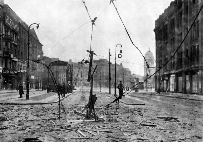 Willy Römer (German, 1887-1979) 'Street battles in Berlin. Battleplace Alexanderplatz with the downed lines of the tram' 8.3.1919