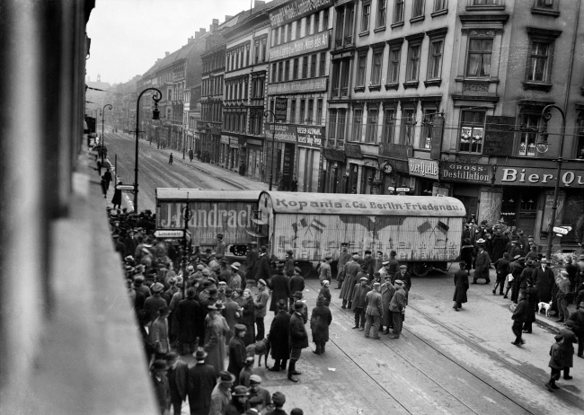 Willy Römer (German, 1887-1979) 'General strike in Berlin. Moving van as barricade on Prenzlauer Straße' 7.3.1919
