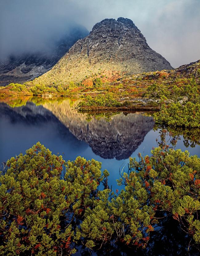 Peter Dombrovskis (Australian, born Germany 1945-96) 'Morning light on Little Horn, Cradle Mountain-Lake St Clair National Park, Tasmania' 1995