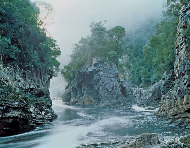 Peter Dombrovskis (Australian, born Germany 1945-96) 'Morning mist, Rock Island Bend, Franklin River, Franklin-Gordon Wild Rivers National Park, Tasmania' 1980