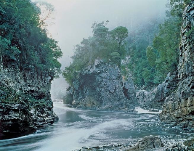 Peter Dombrovskis (Australian, born Germany 1945-96) 'Morning mist, Rock Island Bend, Franklin River, Franklin-Gordon Wild Rivers National Park, Tasmania' 1980