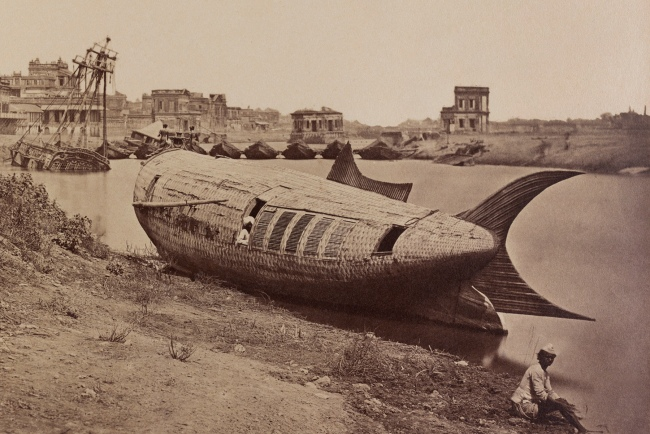 Felice Beato (Italian-British, 1832-1909) 'The Chattar Manzil Palace and the King of Oudh's boat in the shape of a fish, Lucknow' 1858 (detail)