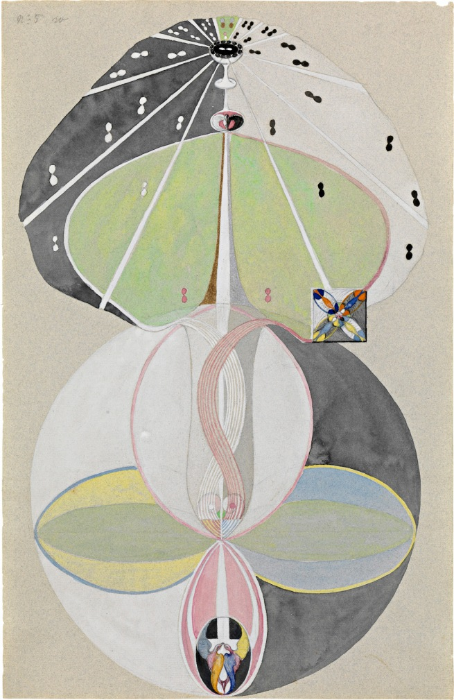 Hilma af Klint (Swedish, 1862-1944) 'Tree of Knowledge, No. 5' (Kunskapens träd, nr 5) 1915